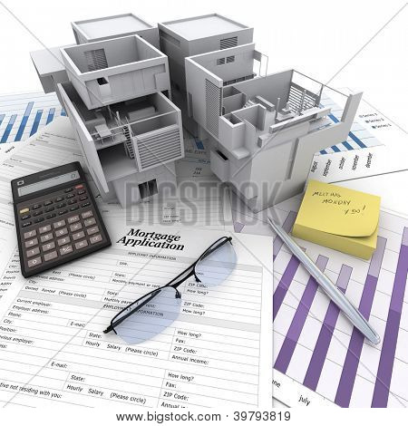 A building on top of a table with mortgage application form, calculator, blueprints, etc..