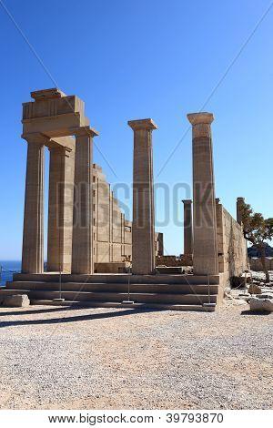 Facade Of Doric Temple Of Athena Lindia