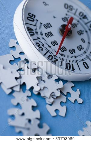thermometer and puzzle