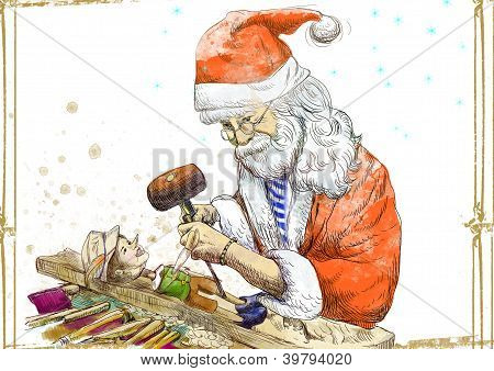 Santa Claus as a carver sculpting Pinocchio marionette.
