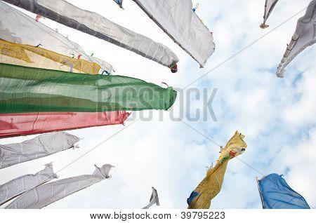 Colorful Mantra Flag Field In Darjeeling, India