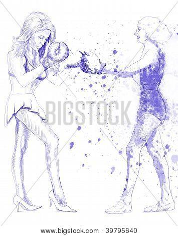 Women in mutual dispute