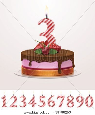 Vector birthday cake with candle