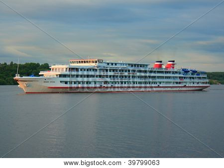 Navigation on the river Volga. Cruise ship.