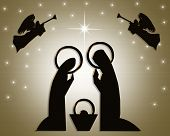 stock photo of nativity scene  - Christmas Nativity scene for card stationery or holiday invitation - JPG