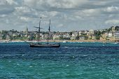 foto of brig  - Brig against Dinara on a cloudy summer day - JPG