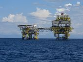 pic of oil drilling rig  - this is a picture of an oil production platform offshore the coast of Malaysia - JPG