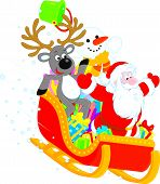 image of toboggan  - Santa Claus with Reindeer and Snowman slide down in a sleigh with Christmas gifts - JPG