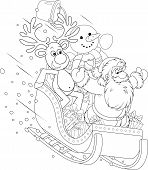 stock photo of toboggan  - Santa Claus with Reindeer and Snowman slide down in their sleigh with Christmas gifts - JPG