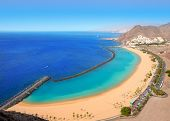foto of canary  - Beach Las Teresitas in Santa cruz de Tenerife north at Canary Islands - JPG