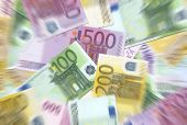100,200,500 Euro Notes Texture Radial Blur