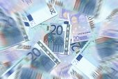 20 Euro Notes Texture Radial Blur