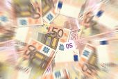 50 Euro Notes Texture Radial Blur