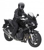 stock photo of ppe  - a motorbike with biker in white back - JPG