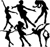 Figure skating vector silhouettes set on white background