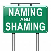 foto of shame  - Illustration depicting a roadsign with a naming and shaming concept - JPG