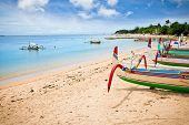 picture of dua  - Traditional fishing boats on a beach in Nusa Dua on Bali - JPG
