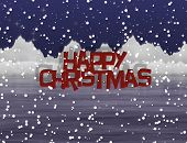 Snowy Christmas Icy Scenery And Text