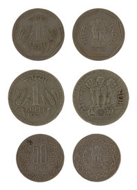 foto of asoka  - Indian rupee coins isolated on white - JPG