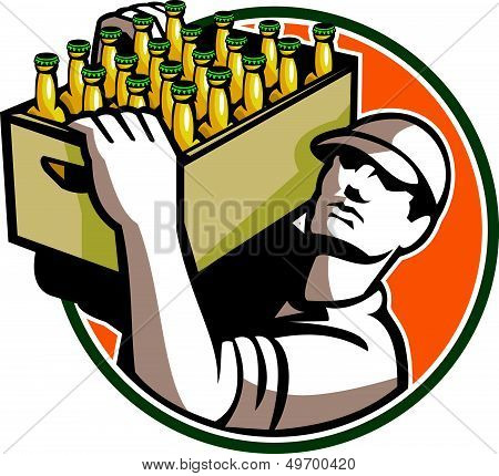 Bartender Carrying Beer Case Retro