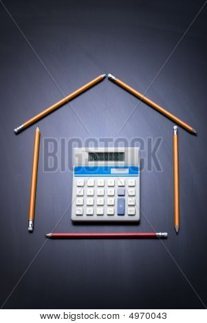 Pencils As House With Calculator Door