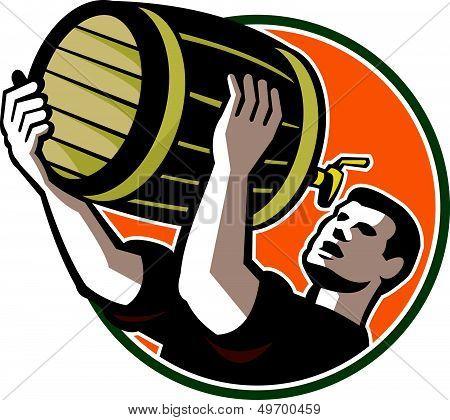 Bartender Pouring Drinking Keg Barrel Beer Retro
