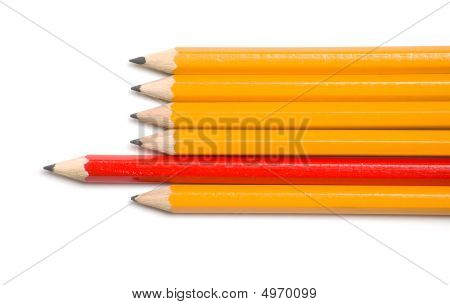 Yellow And Red Pencils Point Left