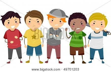 Stickman Illustration Featuring a Group of Young Male Bullies