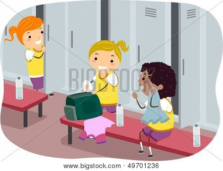 Stickman Illustration Featuring Girls Hanging Out in the Locker Room