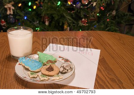 Christmas Cookies And Milk And Note And Tree