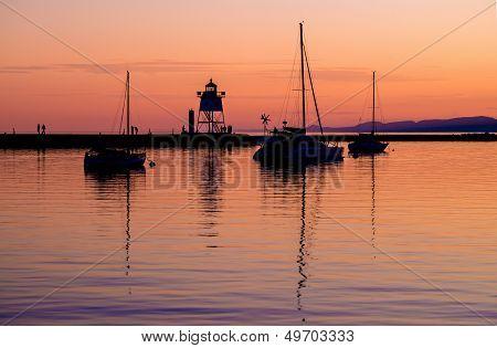 Sailboats And Lighthouse, Sunset, Grand Marais