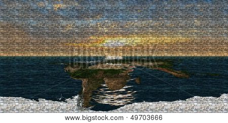 Worldmap at sunset composed of images