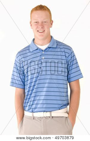 Young Redhead Blue Eyes In Polo Shirt