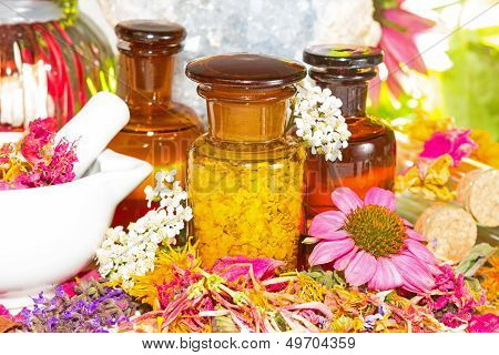 Aromatherapy Still Life With Fresh Flowers