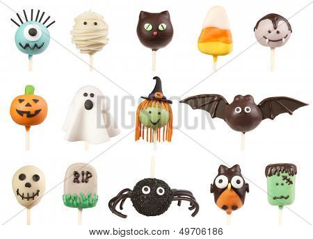 Halloween cake pops isolated on white