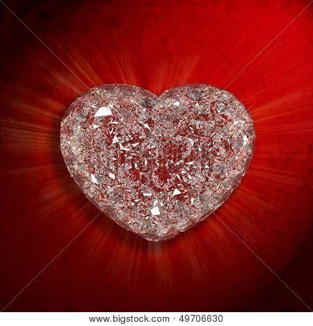 Diamonds Heart Shaped Gemstone Isolated On Red Velvet Background