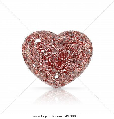 Diamonds Heart Shaped Gemstone Isolated On White Background