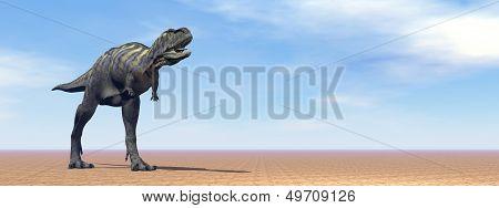 Aucasaurus dinosaur in the desert - 3D render