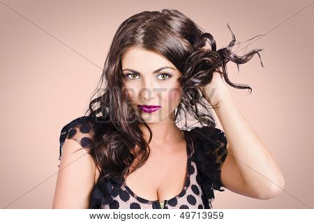 Edgy Hair Fashion Model With Brunette Hairstyle