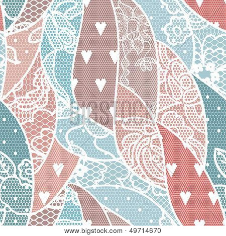 Lace Seamless Pattern With Flowers
