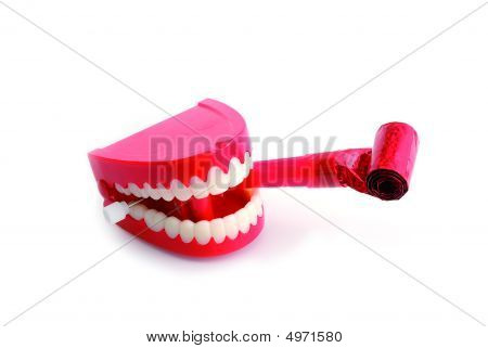 Chattering Teeth With Party Blower