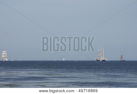 Flowing On Sea Sailing-ship