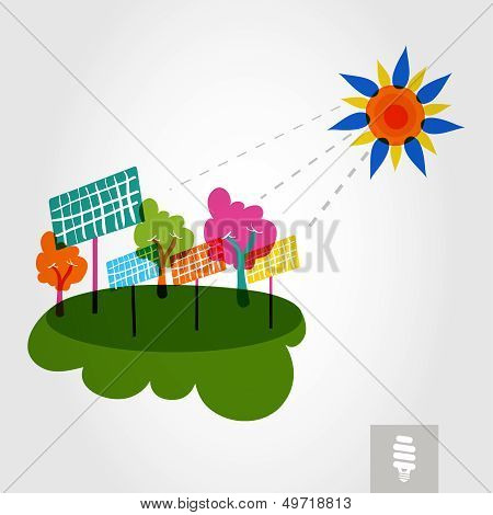 Go Green City: Sun, Trees, And Solar Panels.