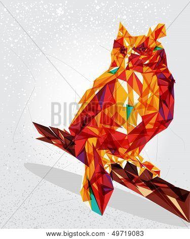 Owl Bird Geometric Illustration.