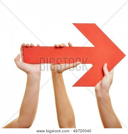 Many hands pointing a red arrow to the right