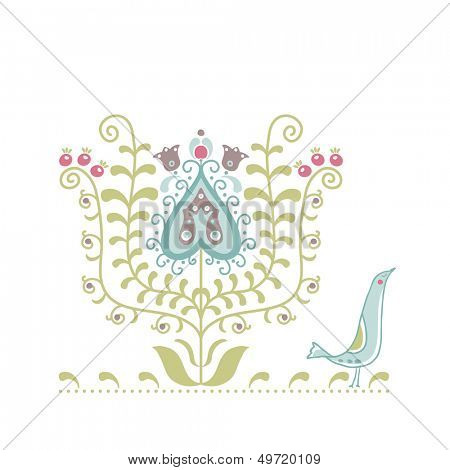 ethno motif tulip and bird