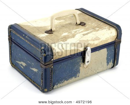 Battered Old Suitcase On White