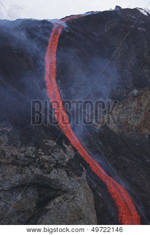 Molten lava flows from Eyjafjallajokull Fimmvorduhals Iceland