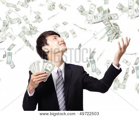 Happy Business Man With Us Money