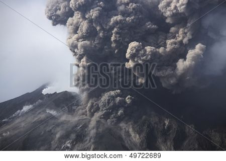 Cloud of volcanic ash from Sakurajima Kagoshima Japan